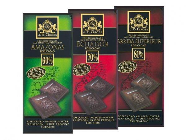 [Lidl] Hochprozentige (bis 81% Kakao) Edelbitter-Schokolade 125g der Marke JD Gross für 88 Cent