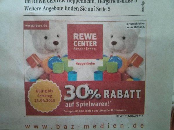[lokal] 30% auf Spielwaren bei Rewe Center Heppenheim