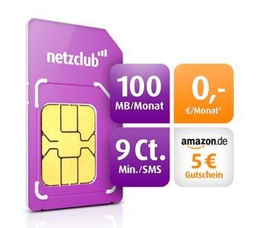 Netzclub Kostenlose Prepaidkarte mit Internetflat + 5€ Amazon Gutschein bei 5€ Aufladung