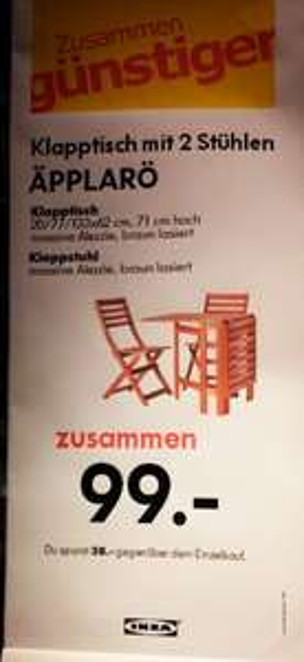 [IKEA Lokal] evtl. Bundesweit: Ikea ÄPPLARÖ Klapptisch + 2 Stühle 99€ !