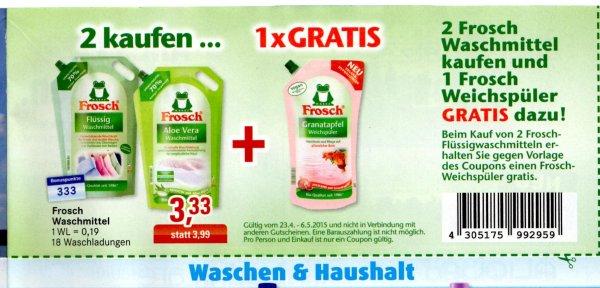 BUDNI: 2 Frosch Waschmittel kaufen und 1 Frosch Weichspüler (1l) gratis dazu (Coupon im Prospekt) 6,66€