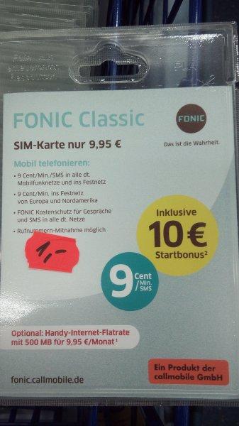 Fonic Prepaid Karte 10€ Startguthaben für 1€ *lokal Saturn Erlangen