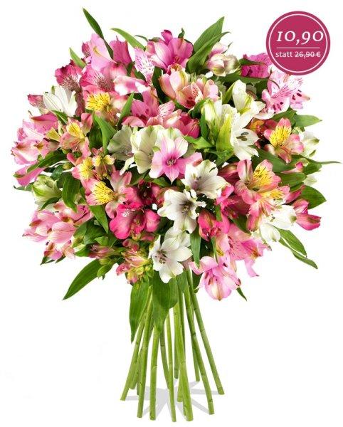 [Miflora.de]: Amica Blumenarrangement mit 15 bunten Alstromerien für 10,90€ + 5,90€ Versand - 10% Qipu