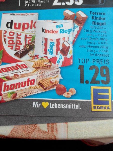 ( Edeka  u. Marktkauf Rhein -Ruhr ) Duplo,  Kinder Riegel oder Hanuta 1,29  Euro