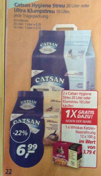 2x Catsan Hygiene Streu 20l oder Ultra Klumpstreu 10 l je 6,99€ kaufen und Whiskas Nassnahrung 12x 100gr gratis bei Real von 27.04 bis 2.05