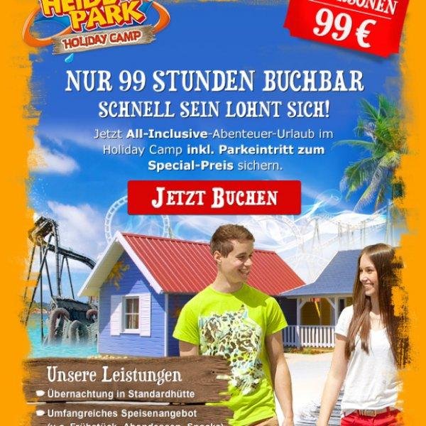 Heidepark 2 Personen mit 1 Übernachtung und Verpflegung 99 Euro, jede weitere 30 Euro