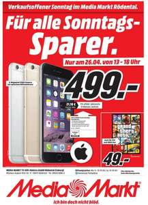 Apple iPhone 6 Plus 16GB Grau 499€ Lokal Rödental/Coburg nur am 26.04.15