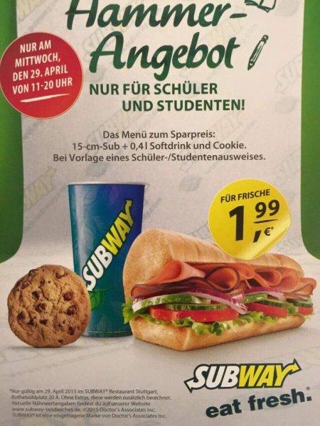 [Lokal Subway Stuttgart Rotebühlplatz] Schüler-/Studenten Menü für 1,99€