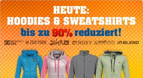 Reichlich Hoodies und Sweats bis 90% reduziert @ 4clever.de