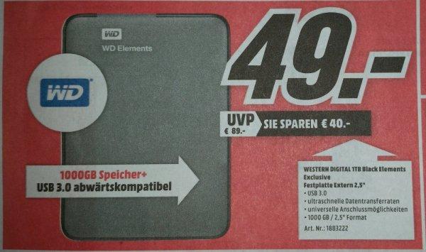 [Mannheim-Sandhofen] Western Digital 1TB Black Elements für 49€ im Media Markt