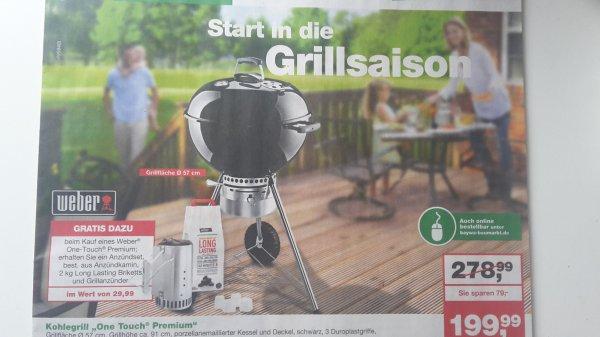 Weber One Touch Premium 57 cm + Weber Anzündkamin SET für 199,99 €bei BayWa Franken & Hessen
