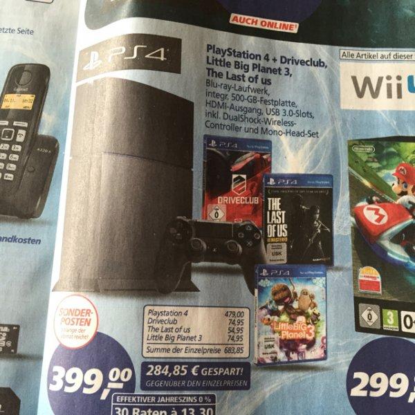 Playstation 4 inkl. 3 Spielen (Driveclub, LBP3, The Last of US) und Controller für 399 Euro / am 30.04. mit Personalkauf sogar für 323 Euro