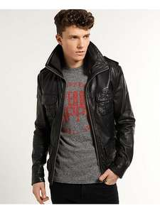 Superdry NEW BRAD HERO - Lederjacke - BLACK    ZALANDO.DE