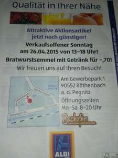 [lokal Röthenbach] Bratwurstsemmel + Getränk 0, 70 € bei Aldi