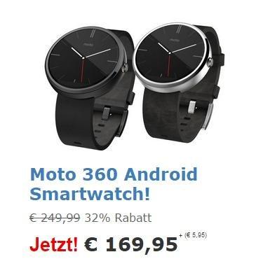 [ibood] Moto 360 Smartwatch Schwarz oder Chrom, Version mit Echtlederarmband
