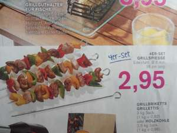 (Kodi Filiale ) Grillspiesse im 4 er Set für 2,95 Euro