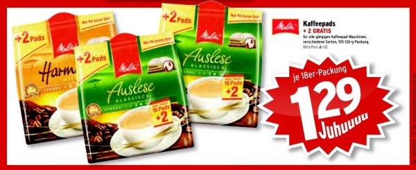 Wasgau - Melitta Kaffeepads 16+2 für 1,29€ (ab 30.04.)