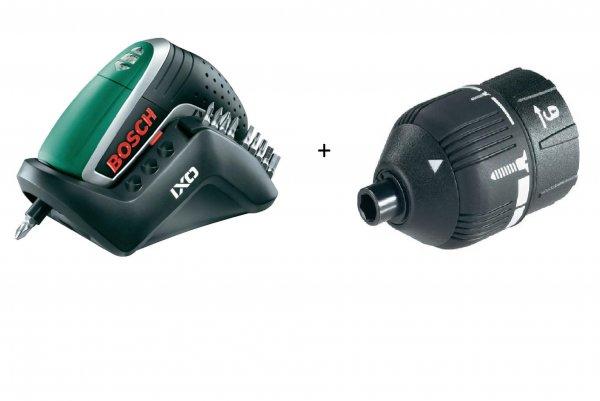 Bosch IXO IV Upgrade Akku-Schrauber 3.6 V 1.3 Ah Li-Ion + Bitset +  IXO IV Drehmomentaufsatz 1600A001Y5 Versandkostenfrei für 42,50€ @Digitalo.de