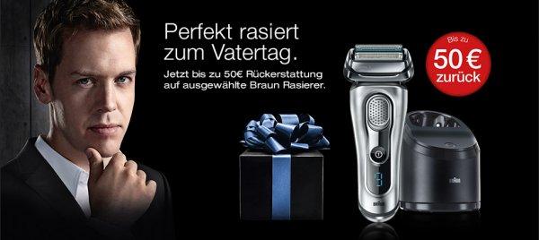 [Braun] bis zu 50€ Cashback für ausgewählte Rasierer (Series 3 und 9) vom 27.04. - 31.07.2015 *** Braun 340 für 41,65€ & Braun WaterFlex für 45€ (inkl. Cashback)
