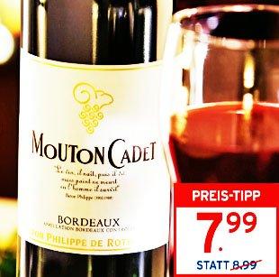 Mouton Cadet Baron Philippe de Rothschild Wein, 6 Flaschen zum Sonderpreis UND eine 1,5l Magnumflasche gratis obendrauf [Perfetto Karstadt]