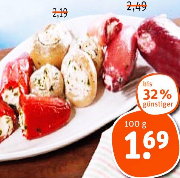 Scharfe Jalapeños, Zwiebeln oder Champignon gefüllt mit Frischkäse nur 1,69€ bei [tegut]