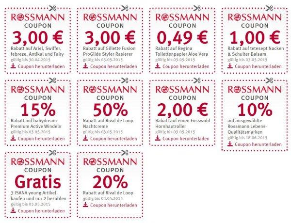 [Rossmann] Diverse Rossmann Coupons - Unterschiedliche Gültigkeit & Wertigkeit (zw. 0,49 € - 3,00 € / 10 % - 50 %)