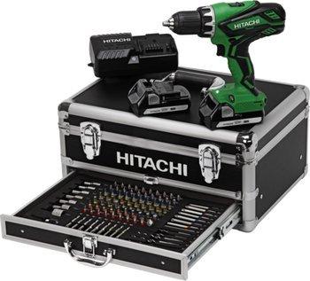 """[ZackZack] Hitachi Akkubohrschrauber-Set + Koffer + 100tlg.-Bit-Set """"DS 18DJL"""" für 174,85 €, Preisersparnis rund 15%"""