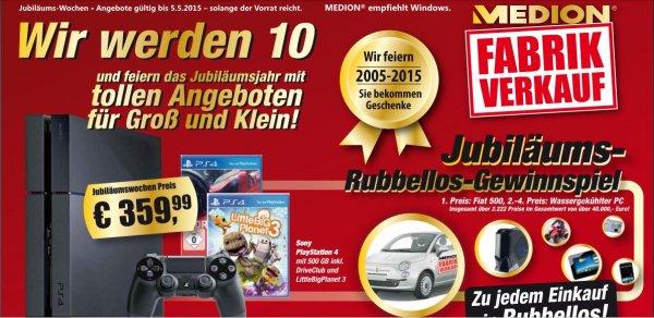 [Medion Fabrikverkauf] Playstation 4 + 1 Controller + Driveclub + Little Big Planet 3 für 359,99€