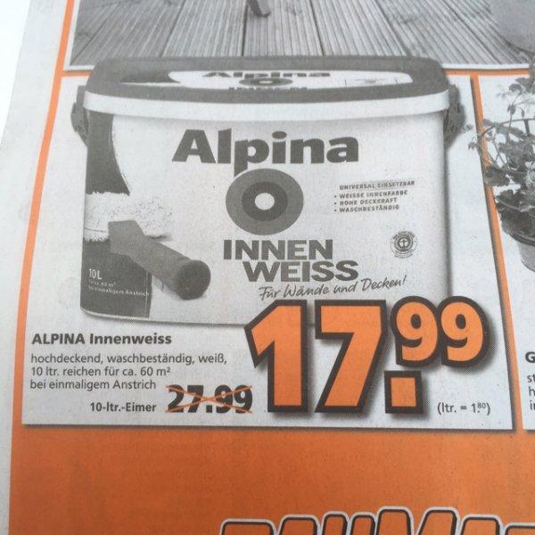 (Lokal Globus dietzenbach) alpina innenfarbe weiß 10l 17,99€