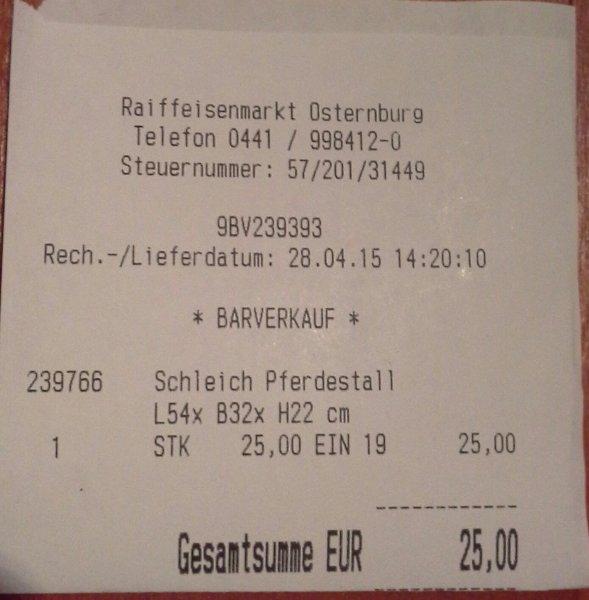 [lokal und offline] Schleich Pferdestall 40164  für 25€, Raiffeisenmarkt Osternburg (Oldenburg )