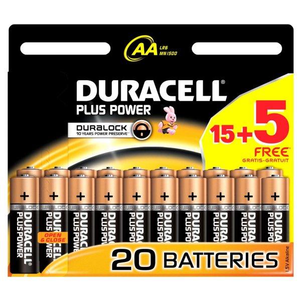 [Amazon.de] 15+5 Pack Duracell Plus Power Batterie AA (MN1500/LR6) für 8,99€ inkl. Versand