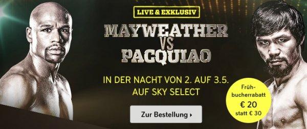 (Sky) Mayweather vs Pacquiao für 20€ statt 30€ - nur bis 1. Mai 12 Uhr
