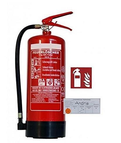 [Amazon] 6 kg ABC-Pulver-Dauerdruck-Feuerlöscher mit Manometer - Wandhalter - Standfuß - EN3- incl. 18,00€