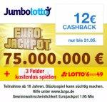 (Qipu) Jumbolotto: Lotto 6aus49 spielen + 12€ Cashback (OHNE Mindestspielwert!) bei Jumbolotto