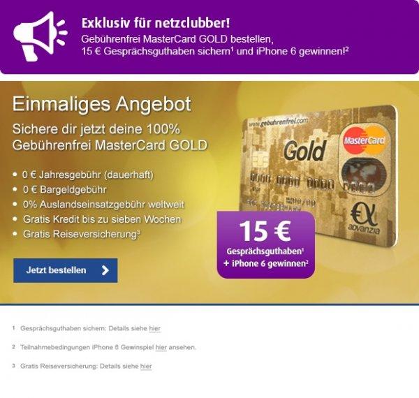 MasterCard Gold mit Reiseschutzversicherung und 15€ Netzclubguthaben (gebührenfrei)