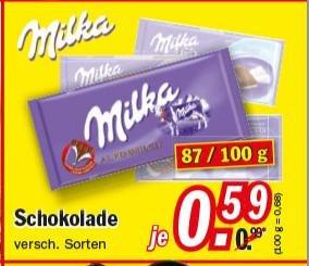 Zimmermann Milka 87/100g Tafel verschiedene Sorten für 0,59 € ab 04.05.2015