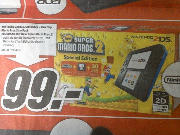 Media Markt Pforzheim  Nintendo 2ds Black - New Super Mario Bros.2 Le-Pack