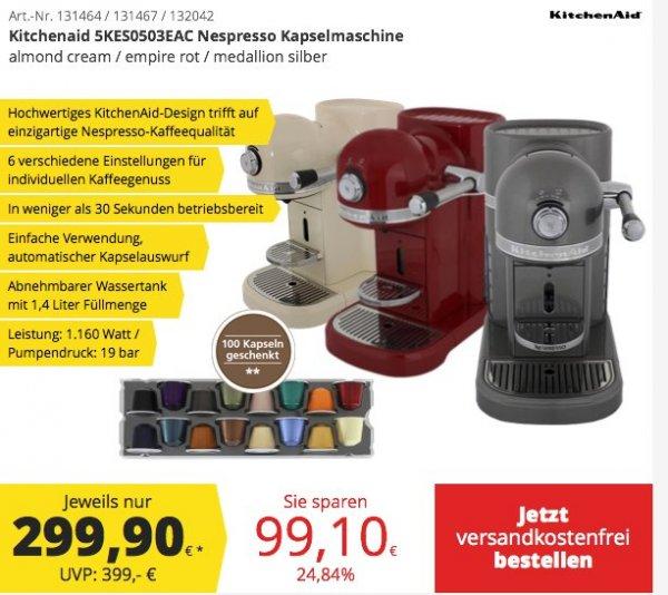 [Comtech/Comdeal] Kitchenaid Nespresso Kapselmaschine in 3 Farben für je 299,-€ Versandkostenfrei