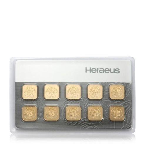 10g Gramm Goldbarren Multicard 10x1g Heraeus Feingold Barren