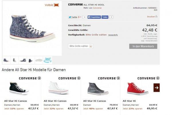 Converse All Star High Wool -50% für Damen [Top Verfügbar - 21streetwear]