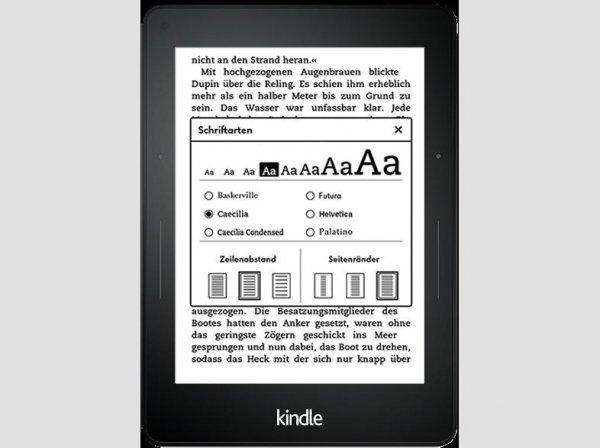 [Saturn] Kindle Voyage, 15,2 cm (6 Zoll) hochauflösendes Display (300 ppi) mit integriertem intelligenten Frontlicht, PagePress-Sensoren, WLAN für 169,-€ Versandkostenfrei