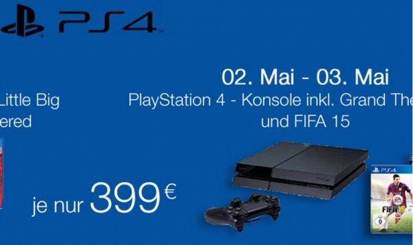 Playstation 4 + GTA V + Fifa 15 [Amazon.de] 02.05.- 03.05.