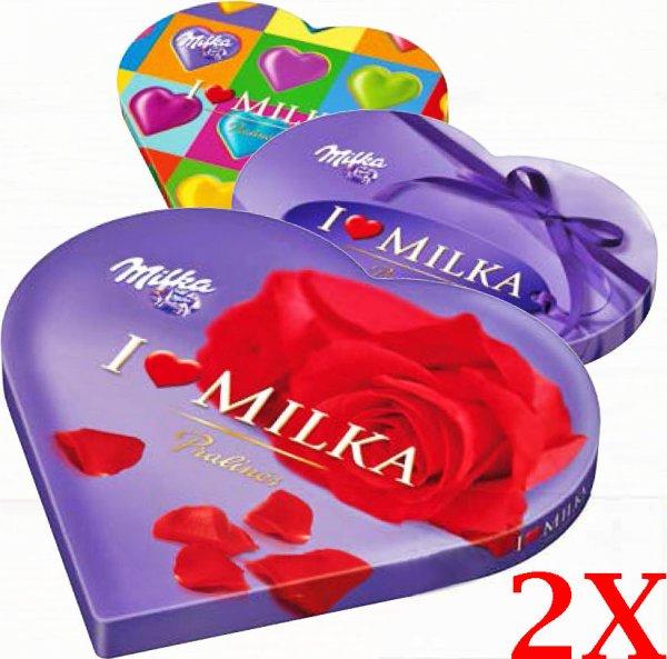 Milka GESCHENK-HERZ 2x kaufen und mit dem 2€ Sofort-Rabatt über 50% sparen [Müller, Combi, Jibi, Minipreis, Famila]