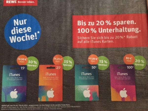iTunes Guthaben mit bis zu 20% Rabatt in den REWE Filialen (04.-09.05.)