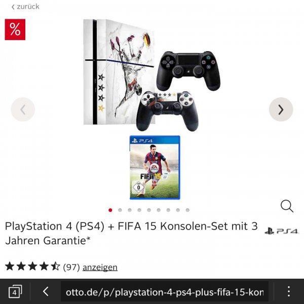 PlayStation 4 + FIFA 15 + 2 Controller + Weltmeisterlook + 3 Jahre Garantie für 390€ [Otto.de]