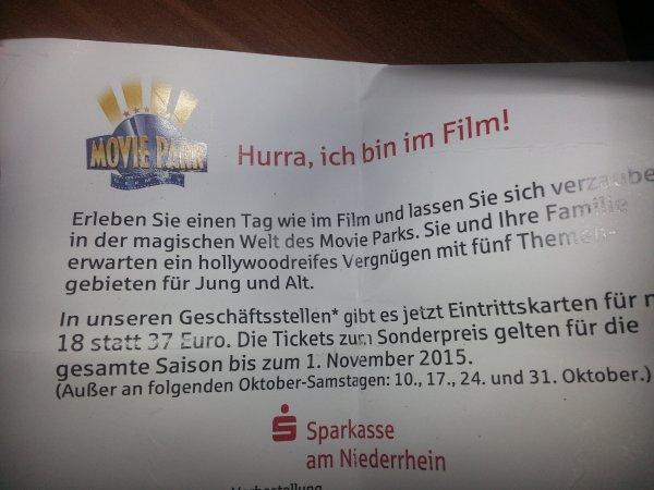Movie Park Tickets für 18 Euro bei der Sparkasse am Niederrhein (Moers)