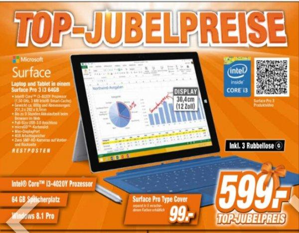[Expert Technikmärkte] Microsoft Surface Pro 3 i3 64 GB 599,- [idealo:749,-]
