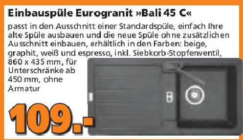 [Gobus-Baumarkt evtl. lokal] Eurodomo Einbauspüle Bali 45 C für 109€ bzw. 98,10€ mit Tiefpreisgarantie ab 04.05.2015
