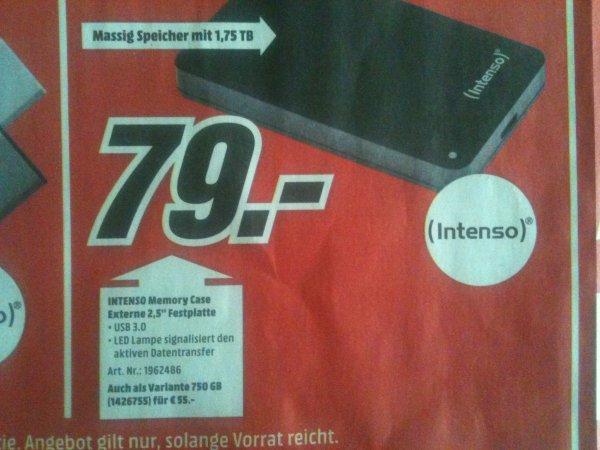 [Hannover - MM] Intenso Memory Case Festplatte 1,75 TB - 79€