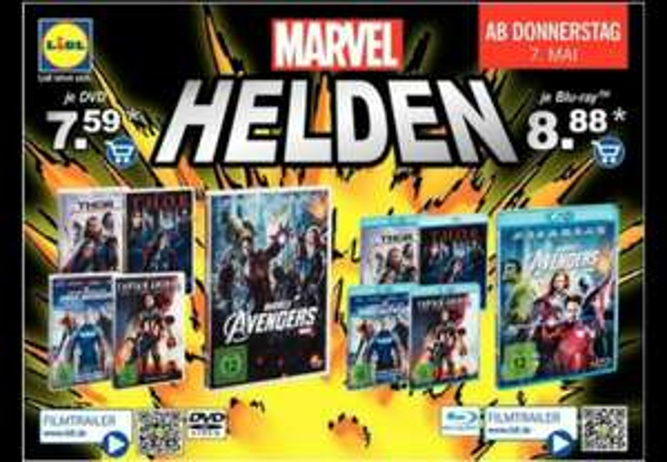 Marvel Filme reduziert [DVD 7,59€ & Blu Ray 8,88€] bei Lidl